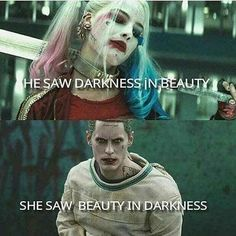 Harley Quinn and the Joker in Suicide Squad. O Joker, Joker Y Harley Quinn, Harley Quinn Tattoo, Joker Quotes, Movie Quotes, Gangster Quotes, Joker Cosplay, Superhero Cosplay, Harley Queen