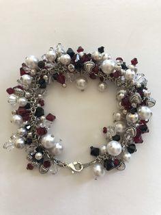 Heart Bracelet, Bracelets, Crystal Shop, Swarovski Pearls, Queen Of Hearts, Silver Color, Jewelry Ideas, Dangles, Jewelry Making