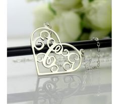 Love Heart Style Monogram Name Necklace in Sterling Silver 925