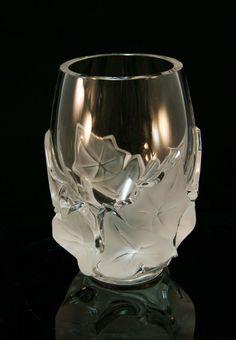 ❤ - René Lalique Signed Cut Crystal Vase with Leaf Motif.