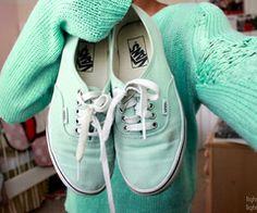 Mint green vans In love - image #1563923 by lovely_jessy on Favim.com