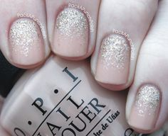 PackAPunchPolish: Nude Nails with a Glitter Gradient