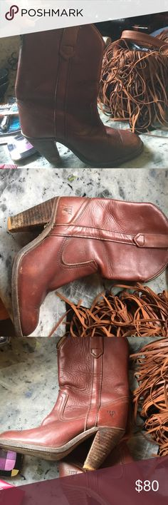 Vintage FRYE boots real leather beauty Amazing used FRYE vintage boots - they ran too small for me I am a true 7 these are 6.5 and would fit a 6 too I believe. They are beautiful and in great condition I am sad to part with them :( Frye Shoes Ankle Boots & Booties