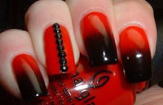 Ombré with detailed black rhinestones