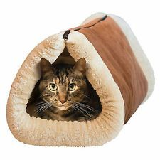 KITTY SHACK 2 IN 1 SELF HEATING PET TUNNEL BED & MAT CAT DOG PORTABLE HOT & WARM