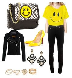 """""""black & yellow"""" by candynena228 ❤ liked on Polyvore featuring Thomas Blakk, Omifa, rag & bone, Superdry and Christian Louboutin"""