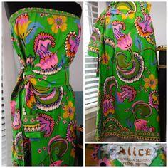 Hawaiian Skirt/Dress Neon Tropical 70s Polynesian VTG By Alice Size 8 or Medium  #PolynesianbyAlice #Hawaiian