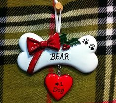 Personalized Christmas Ornament Dog Bone by PersonalizeStation Clay Christmas Decorations, Dog Christmas Gifts, Polymer Clay Christmas, Christmas Ornaments To Make, Personalized Christmas Ornaments, Christmas Time, Dog Tree, Easy Ornaments, Dog Pattern