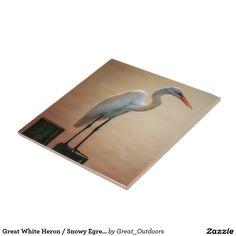 Great White Heron / Snowy Egret - Ceramic Tile
