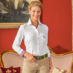 93dd3cfcdde183 Vollzwirn Bluse mit Hirsch und Besatz mehrfarbig im Daniels & Korff Shop