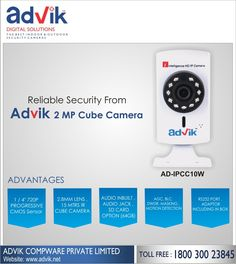 Reliable Security from Advik 2 MP #CubeCamera!!! Advik's 2 MP Cube Camera has motion detection and alarm to provide reliable and Reliable Security from Advik 2 MP #CubeCamera!!! Advik's 2 MP Cube Camera has motion detection and alarm to provide reliable and efficient #security solutions. With a viewing angle of more than 90 degrees and RS232 protocol for faster communication, this is one small camera with big impact. The audio jack for #speakers and connectivity via WIFI .