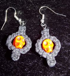Orange Howlite Skull Earring; Black Hemp Earrings - Hemp Jewelry from Exquisitely Original