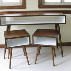 Mid Century Inspired APARTMENT SET. Two Nightstands and Small Desk / Painted Interior. Solid Wood Set. Small Space Modern Furniture Set
