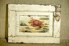 Seascape Crab On Painted Shutter traditional artwork