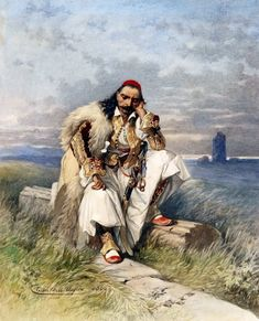 Albanian Culture, Greece History, Greek Warrior, Central And Eastern Europe, Greek Art, Cool Paintings, Ancient Greece, Mythology, Folk