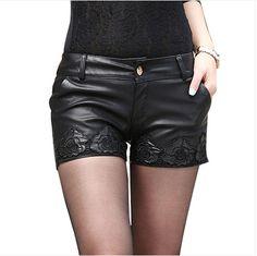 2014 Women Shorts Black Ploy Urethane Womens Shorts Printing Leather Shorts Sexy Hot Pants $17.28