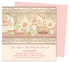 Tea Party : Teaparty Invitation Party Templates Printable DIY edit in Word, Publisher, Apple iWork Pages, OpenOffice