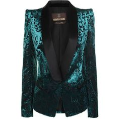 ROBERTO CAVALLI Devoire Baroque Shoulder Jacket (16.610 NOK) ❤ liked on Polyvore featuring outerwear, jackets, blazers, coats, tops, teal, single button blazer, lined jacket, blazer jacket and one button blazer