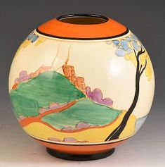 The rare colourway of secrets on one of the very best shapes. A superb and rare 370 Globe vase in the Orange or seven colourway version of secrets. Double Image, Clarice Cliff, Modern Art Deco, Applique Designs, Pottery Art, Globe, The Secret, Vase, Colours