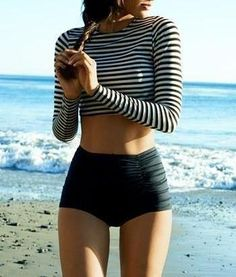 Cute b&w striped crop top w/ a high-waist swim bottom.. Cute!