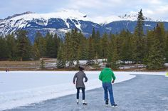Skating on Mildred Lake in Jasper National Park