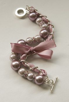 Tea and Old Rose Pearl Braclet with rhinestone rhondelles #mysomawishlist