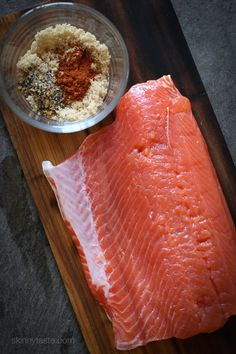 Cedar Plank Spice-Rubbed Salmon – topped with brown sugar and spices