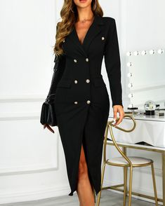 Double Breasted Slit Blazer Dress - - Double Breasted Slit Blazer Dress, Source by abruceiii Classy Dress, Classy Outfits, Chic Outfits, Dress Outfits, Fashion Dresses, Fashion Clothes, Elegant Dresses, Casual Dresses, Dresses For Work