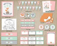 Girl Woodland Birthday Party Mega Pack // by ThePrettyPaperStudio