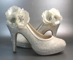 Wedding Shoes -- Ivory Platform Heels with Lace Overlay and Ivory Flowers with Silver Rhinestones