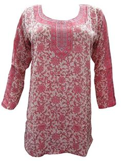 Indian Tunic Top Womens / Kurti Printed Blouse India Clothing Medium Mogul Interior http://www.amazon.com/dp/B00NSFQ03U/ref=cm_sw_r_pi_dp_Akniub04EA0DP