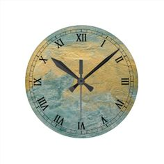 Copper Turquoise Faux Finish Roman Numerals Round Wallclock