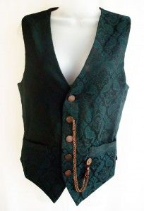 "Gothic waistcoat by ""Raven"" in teal brocade on black with antique bronze buttons & ""steampunk"" chain attachments £66.00 http://gothic.dresstobedifferent.com/store/products/category/male-clothing/"