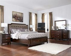 Ashley Wyatt Iron Poster King Size Bedroom Set in Rich Oak Finish ...