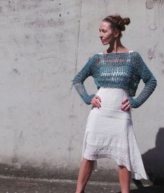 cropped sweater / Teal cotton linen cropped sweater /  thumb hole / loose knit / Coachella festival sweater