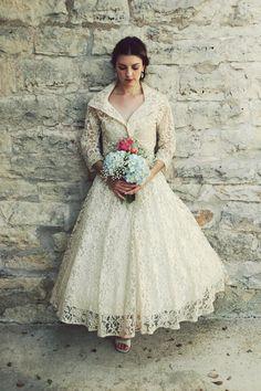 Wedding Dress / 50s Wedding Dress / Vintage 1950s White Lace ...