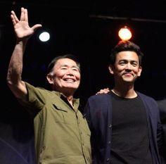 Sulu TIMES TWO! George Takei and John Cho. Awesome.