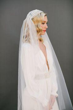 Crystal Veil Juliet Cap Veil Wedding Veil Bridal by veiledbeauty