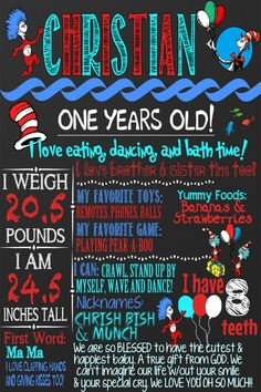 Custom Chalkboard Birthday Board Dr Seuss by CustomPrintablesNY