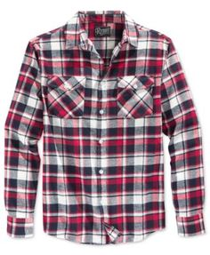Retrofit Men's Plaid Flannel Long-Sleeve Shirt  | macys.com