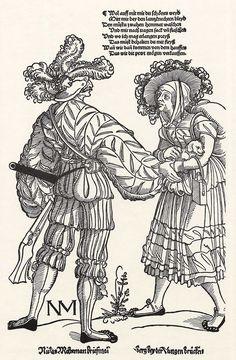 Title: Büchsenschütze und sein Weib              Tags: Kuhmaul shoes, Hat, Landsknecht, Trossfrau, Gun, Backpack, Dog, Stripes              Date: ca. 1535                        Artist: Erhard Schoen              Provenance: Germany              Collection: Germanisches Nationalmuseum