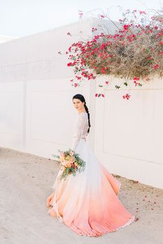 Pantone's Colour of the Year for Living Coral is a perfect shade for weddings. Take a look at these Living Coral wedding ideas and fall in love with this beautiful shade. Coral Dress Wedding, Dip Dye Wedding Dress, Colored Wedding Dresses, Wedding Colors, Wedding Flowers, Bridal Gowns, Wedding Gowns, Wedding Day, Wedding Ceremony