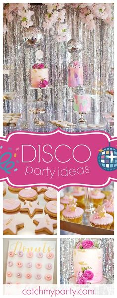 Check out this cool Disco birthday party! The cakes are stunning!! See more party ideas and share yours at CatchMyParty.com #disco #girlbirthday
