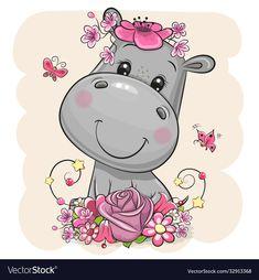 Cartoon Hippo, Cute Cartoon Animals, Baby Cartoon, Cute Animals, Cute Hippo, Baby Hippo, Elephant Illustration, Cute Illustration, Baby Animal Drawings