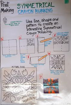 Symmetrical Crayon Rubbing Lesson Idea | Art Projects for Kids | Use crayon and a popsicle stick to create a radially symmetrical design. This would be great for 4th grade art lessons.