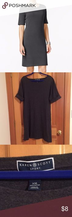 Karen Scott Sport grey T-shirt dress Karen Scott Sport t-shirt dress with rolled elbow length sleeves. Charcoal sleeves. First pic is stock photo. Other pics are actual item. Last pic is back. Boat neckline. Machine washable. Sized XXL. Fits like 1X. Karen Scott Dresses