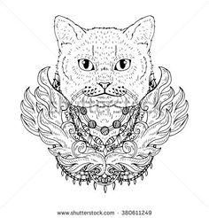 animal Cat head abstract art tattoo doodle sketch. British cat ...