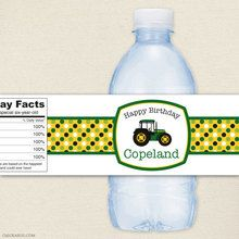Tractor Party Water Bottle Labels