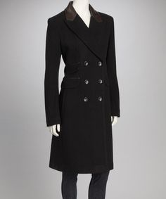 Black Double Breasted Leather Trim Wool-Blend Coat
