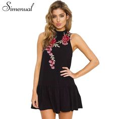 62db18b9194 Patches flower embroidery summer dress back cut out ruffles hem casual  tanks dresses women sleevele Sexy